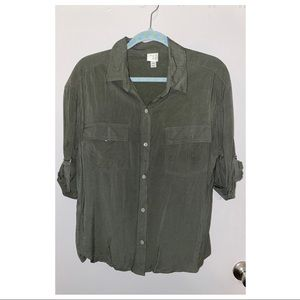 Olive green button up blouse